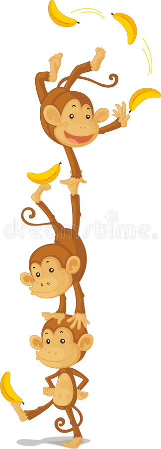 Download Three monkeys stock vector. Image of white, juggling, clipart - 8847981