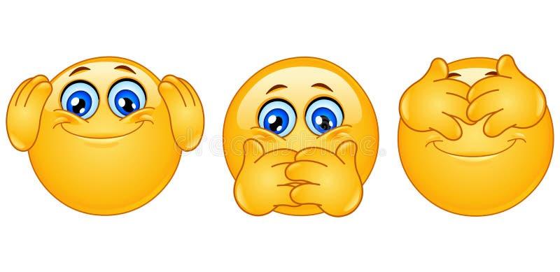 Three monkeys emoticons stock illustration