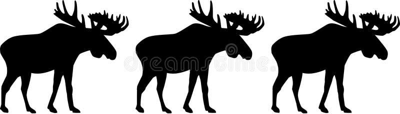 Three moose elk stock illustration