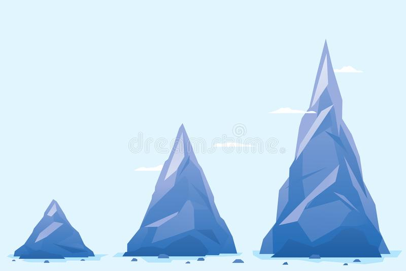Three Mountain Milestones. Three blue mountain milestones with sharp peaks, business concept template, infographic design element vector illustration