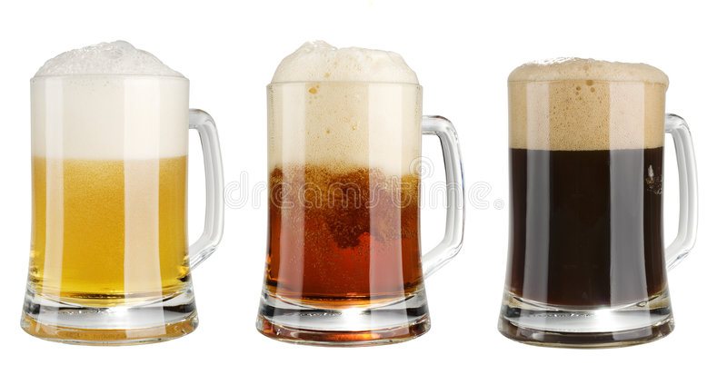 Three mugs of multicolor alcohol beer over white royalty free stock photos