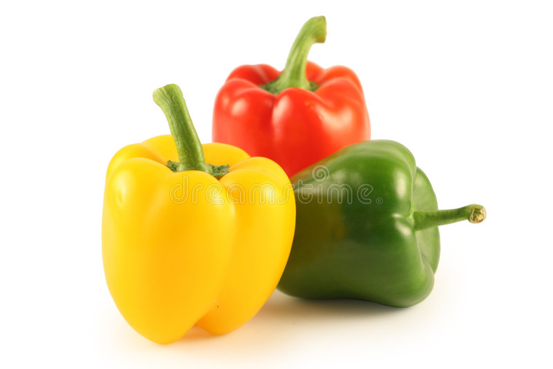 Three multi-coloured pepper stock photo