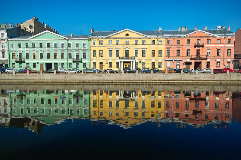 Download Three Multicolor Old Houses Stock Image - Image: 7094947