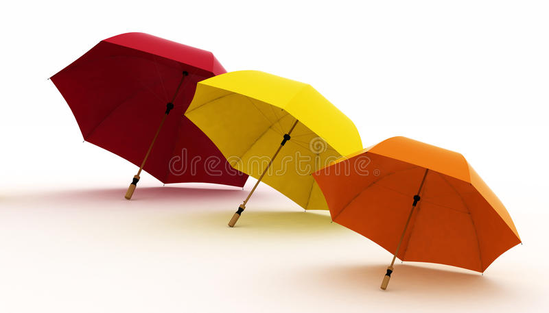 Three Multicoloured Umbrellas Royalty Free Stock Photography