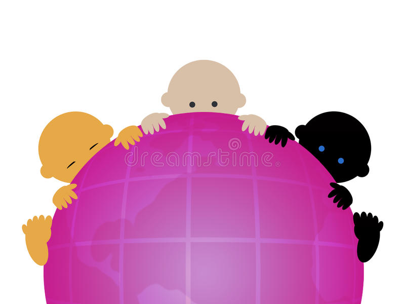 Three multiracial babies. On globe royalty free illustration