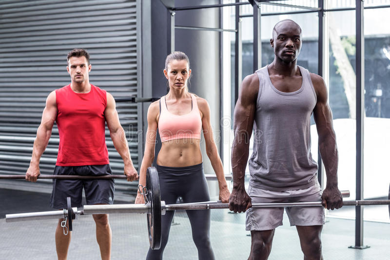 Three muscular athletes lifting barbells stock photos