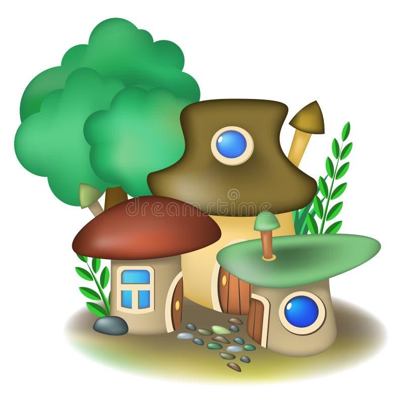 Three mushroom houses royalty free illustration