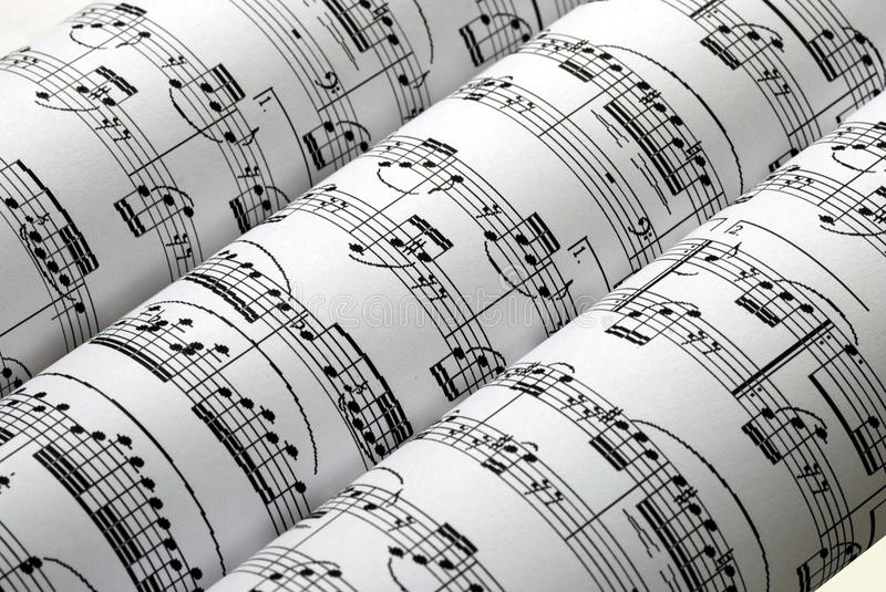 Download Three Music Sheets On A Row Isolated In White Stock Photo - Image: 11792094