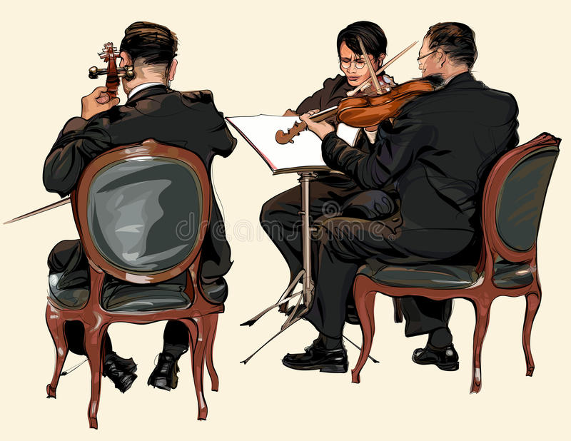 Three musicians of classic orchestra vector illustration
