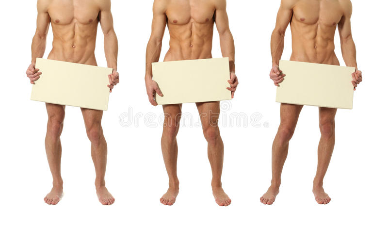Three Naked Men Covering with a Blank Sign stock photo