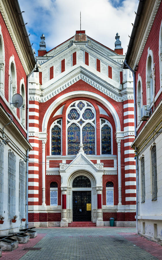 Synagogue of Brasov, Romania. The three-nave synagogue in Black Street (actually N. Balcescu) was built in 1901 in Spanish style. Brasov, Romania stock photography
