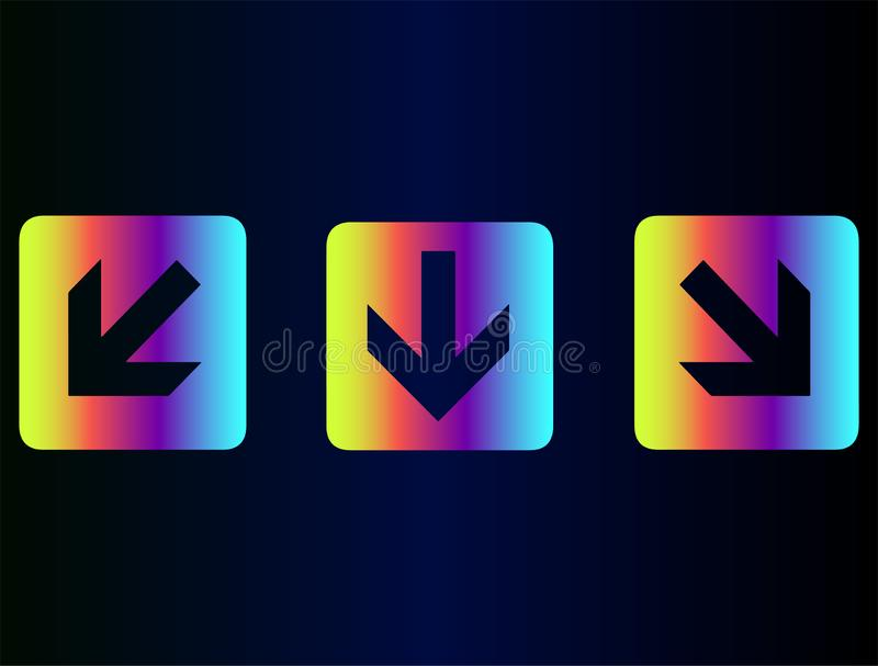 Three neon arrow buttons isolated for web site. Vector flat icons collection - Neon rainbow pointers, arrows for web site or navigation on social instagram page royalty free illustration