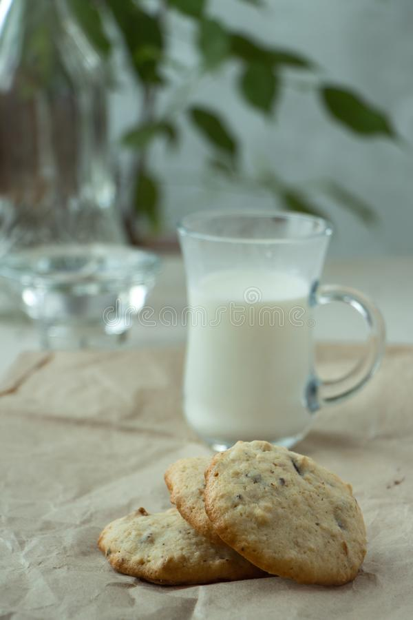 Three Oatmeal cookies with blurred small glass of milk, light and white photography in a rustic style. Oatmeal cookies with a glass of milk, light and white stock image