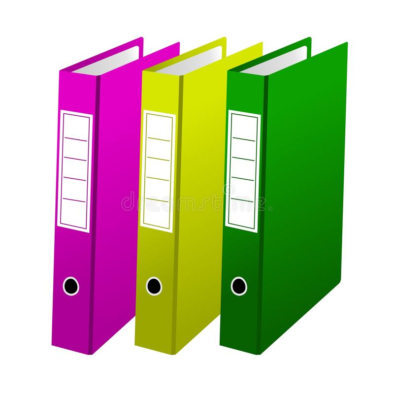 Three office folders stock illustration