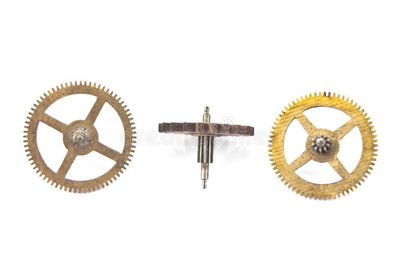Three old cogwheels gears stock photo