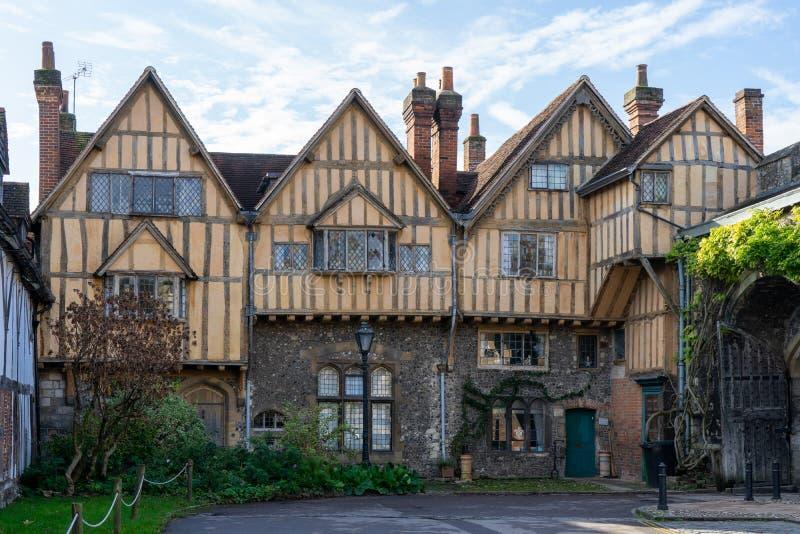 three old english tudor houses stock photography