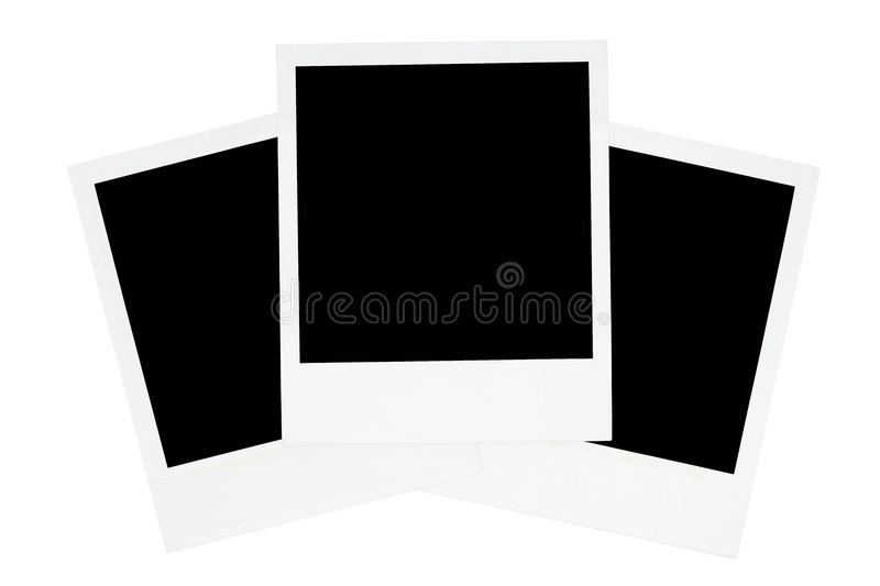 Three Old-fashioned Photo Frames. Photo templates isolated on a white background stock photo