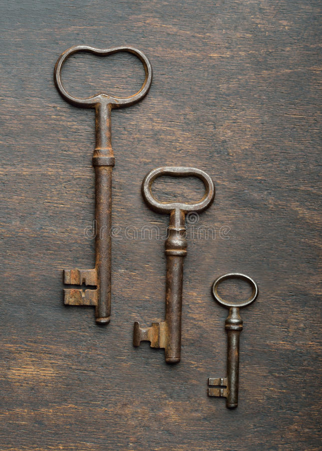 Three old keys stock photo