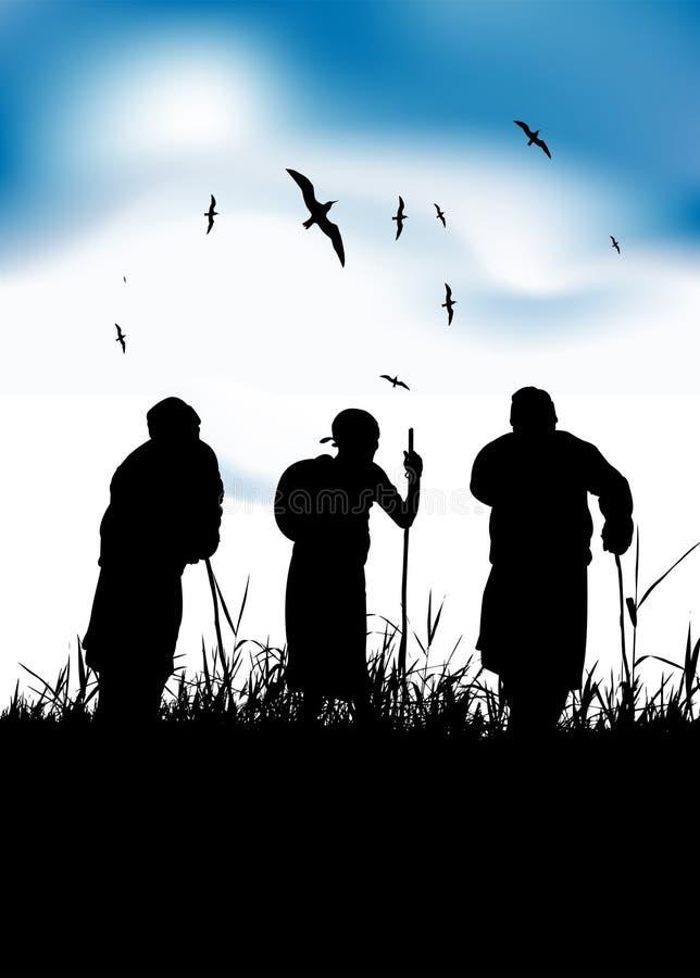 Three old people walk on nature together stock illustration
