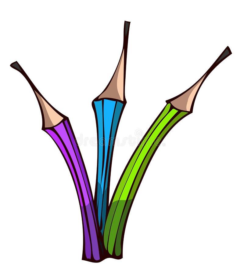Three Old Style Graphite Pencils. vector illustration