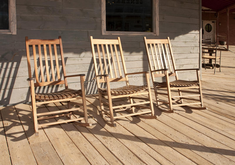 Three Old West Town Empty Rocking Chairs Stock Photos