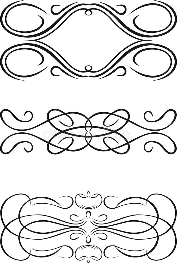 Three One Color Baroque Curves. vector illustration