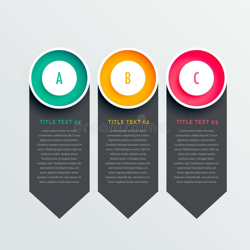 Three options dark vertical banners vector illustration