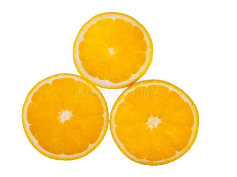 Three oranges pieces stock photo