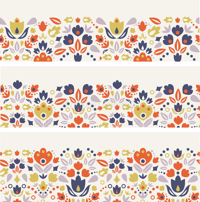 Three ornamental folk tulips horizontal seamless vector illustration