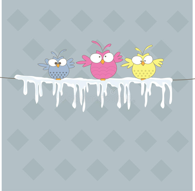 Free Three Owl On The Rope. Vector Illustration Stock Image - 16749691