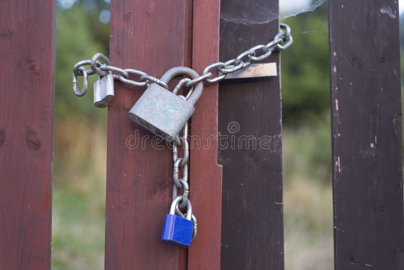 Three padlocks. On an iron chain royalty free stock photography