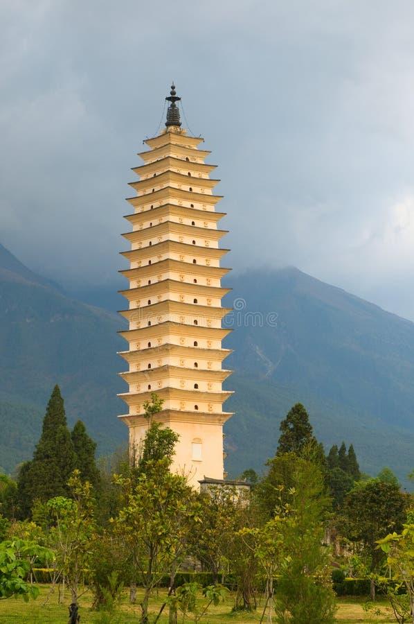 Three pagodas, Dali, Yunnan, China royalty free stock photo