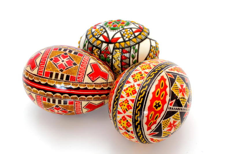 Three painted eggs stock photo