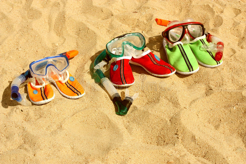 Download Three Pairs Of Masks With Tubes For Swimming Stock Image - Image: 16859231