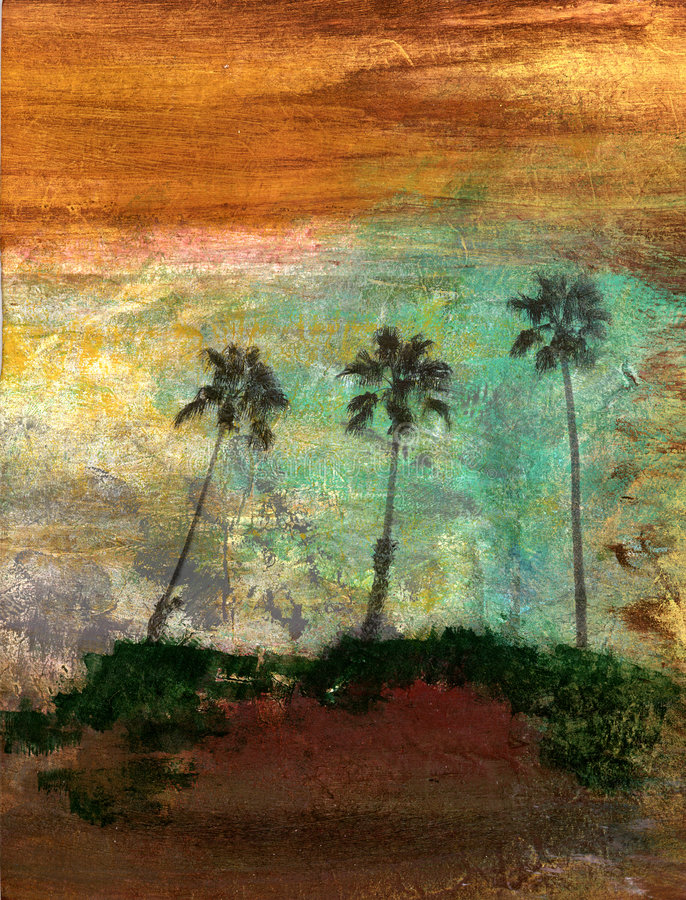 Three Palm Trees. Abstract textural photo based painitng of three palm trees