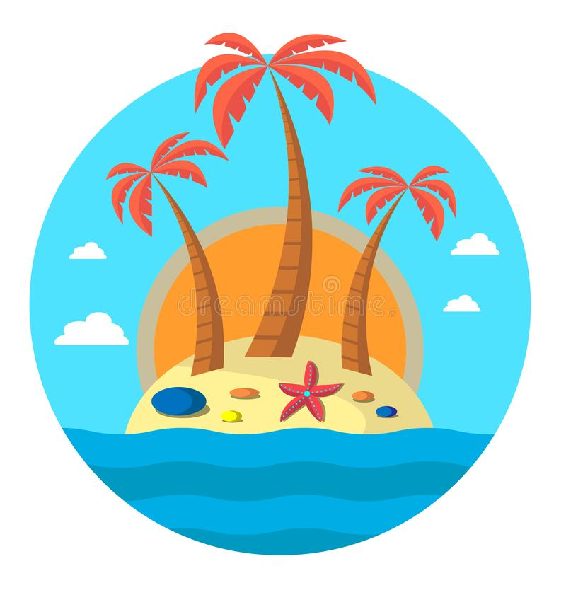 Three palm trees on island and the sun. On island there are starfish and stones. Editable. Vector flat illustration. Round royalty free stock image