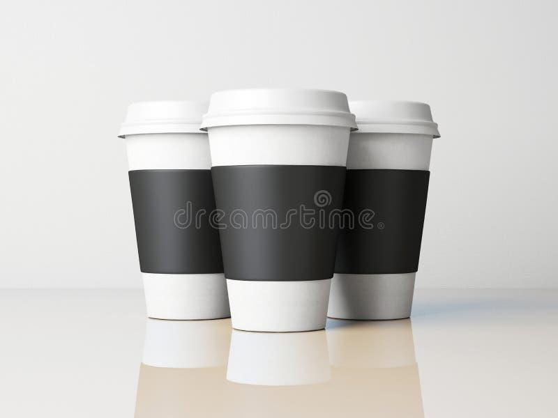 Three paper cups stock illustration