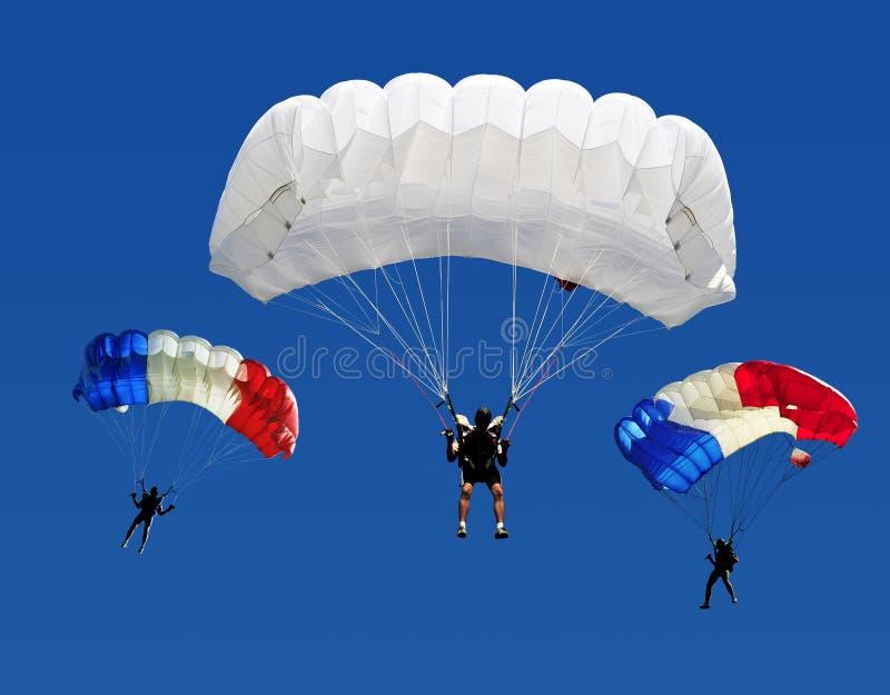 Three parachutes stock photos
