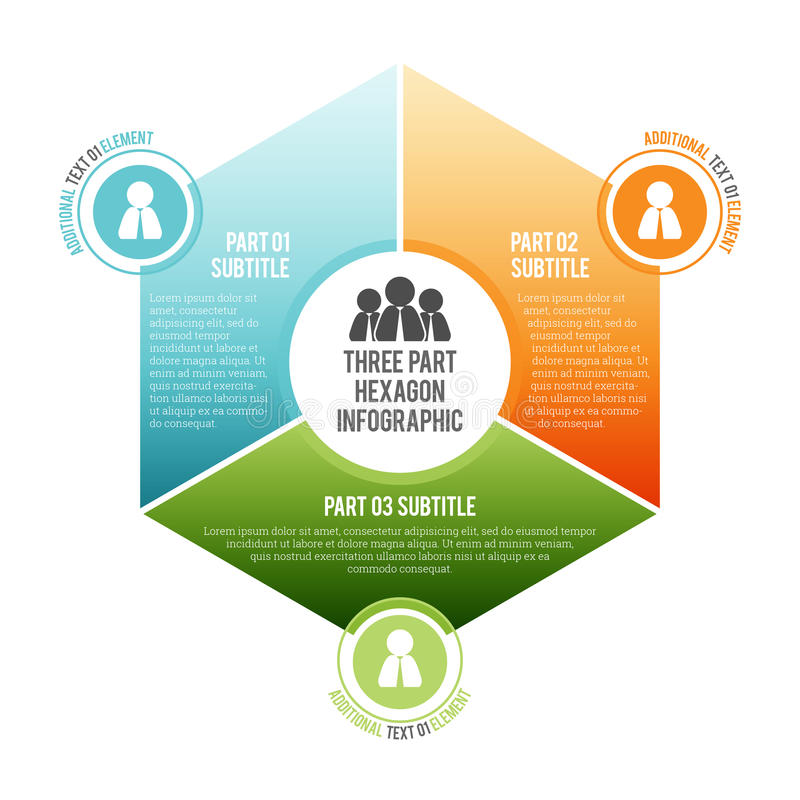Free Three Part Hexagon Infographic Stock Images - 41052064