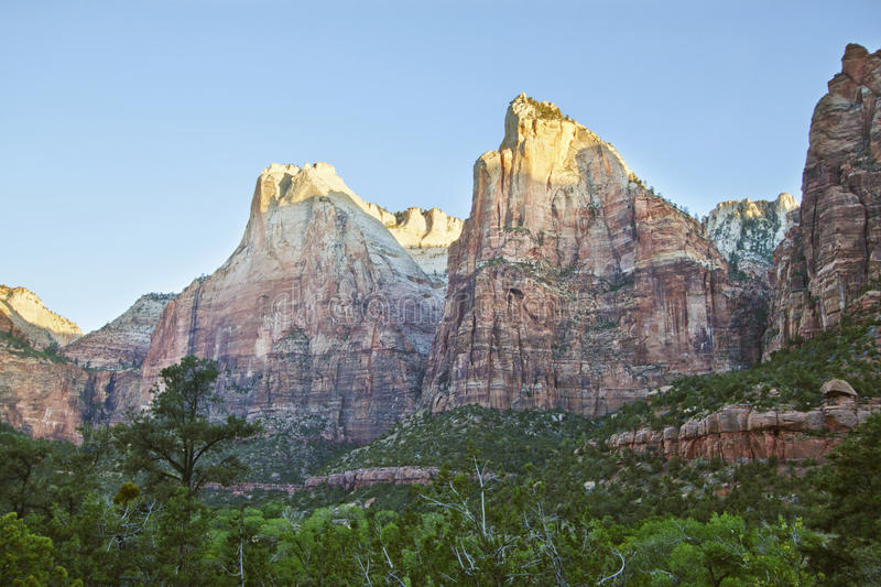 Three Patriarchs in Zion Canyon stock images