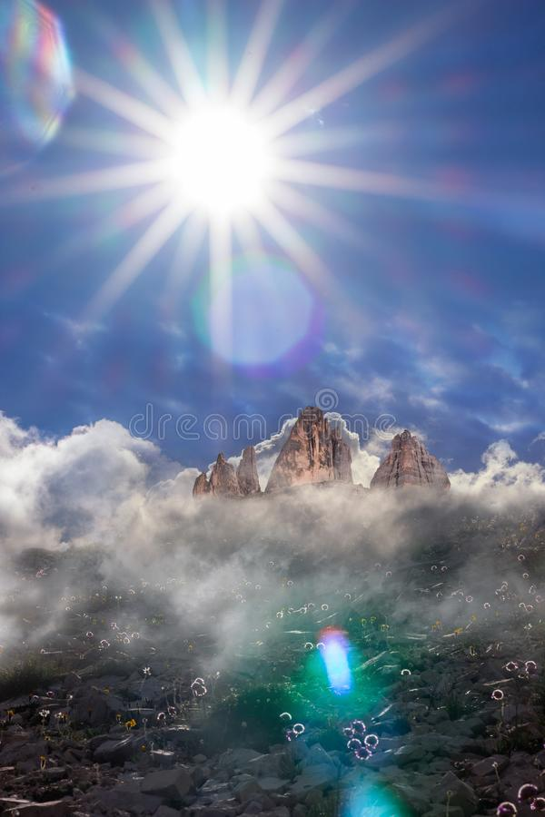 Three Peaks at Summer Sun Beam stock photo