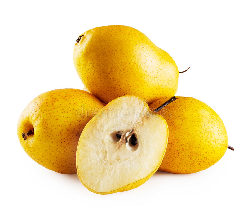 Three pears and half. Isolated on white background stock photo