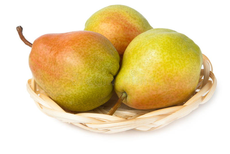 Download Three Pears In Wicker Basket Stock Photo - Image of fresh, nobody: 30768438