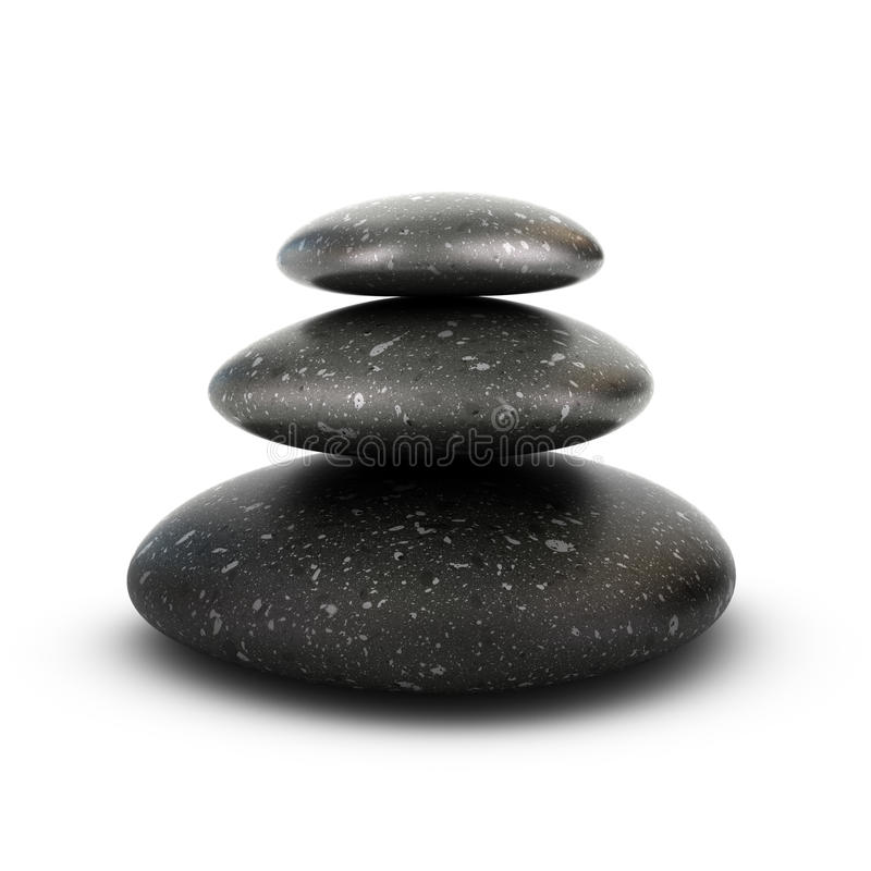 Three Pebbles Stacked, Serenity Concept. Three stones stacked over white background, balancing pebbles. 3D render symbol of relaxation, serenity and harmony stock illustration