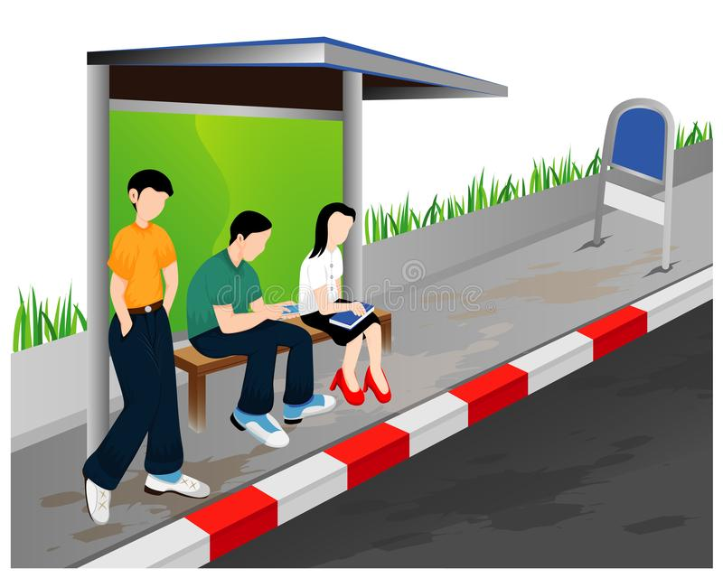 Three people at bus stop royalty free illustration