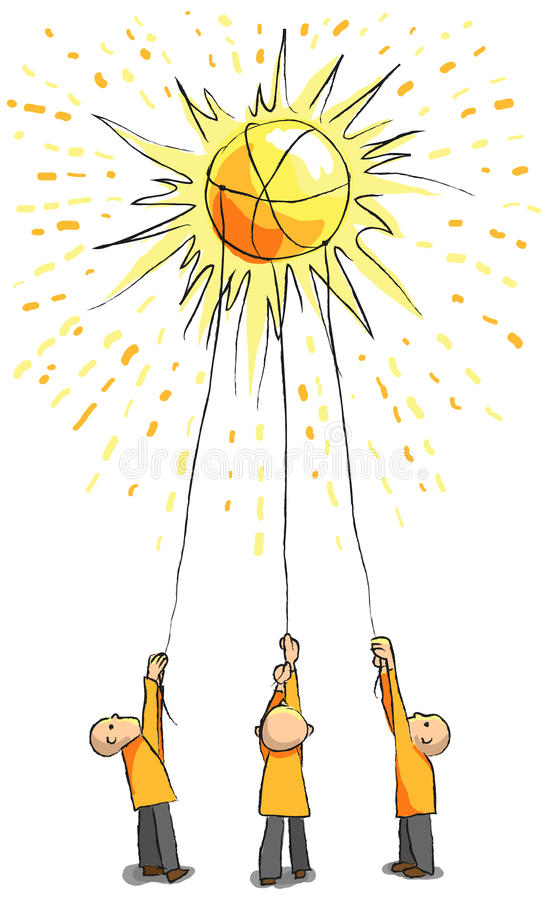 Three people catch the sun with ropes. Energy concept - Great for saving energy concept or ambitiousness teamwork concept vector illustration