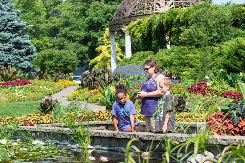 Three people gazing into the pond. In the Sunken garden in Lincoln Nebraska USA on July 3rd 2018 stock photography