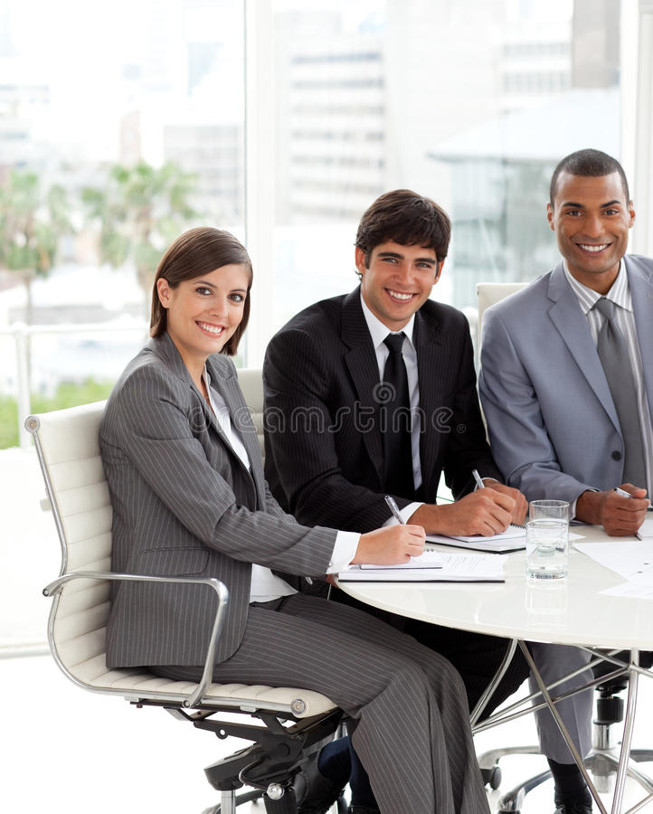Download Three people in a meting stock image. Image of conference - 12191511