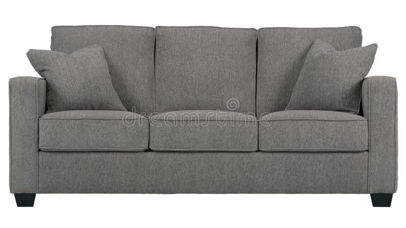 Three people sofa in gray colour stock photography