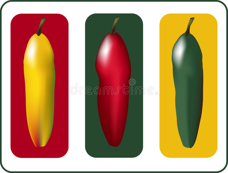 Download Three Peppers stock vector. Illustration of food, spicy - 2489206